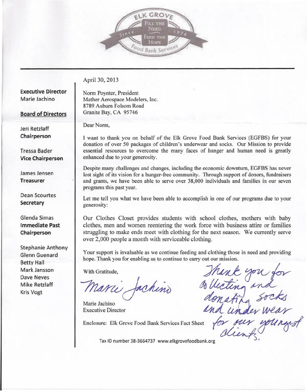 Letter from Elk Grove Food Bank Services to MASM