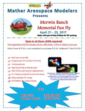 Merwin Ranch Memorial Fun Fly April 21-23 2017